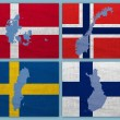 Flags and maps of Scandinavian countries — Stock Photo