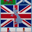 Flags and maps of United Kingdom countries — Stock Photo