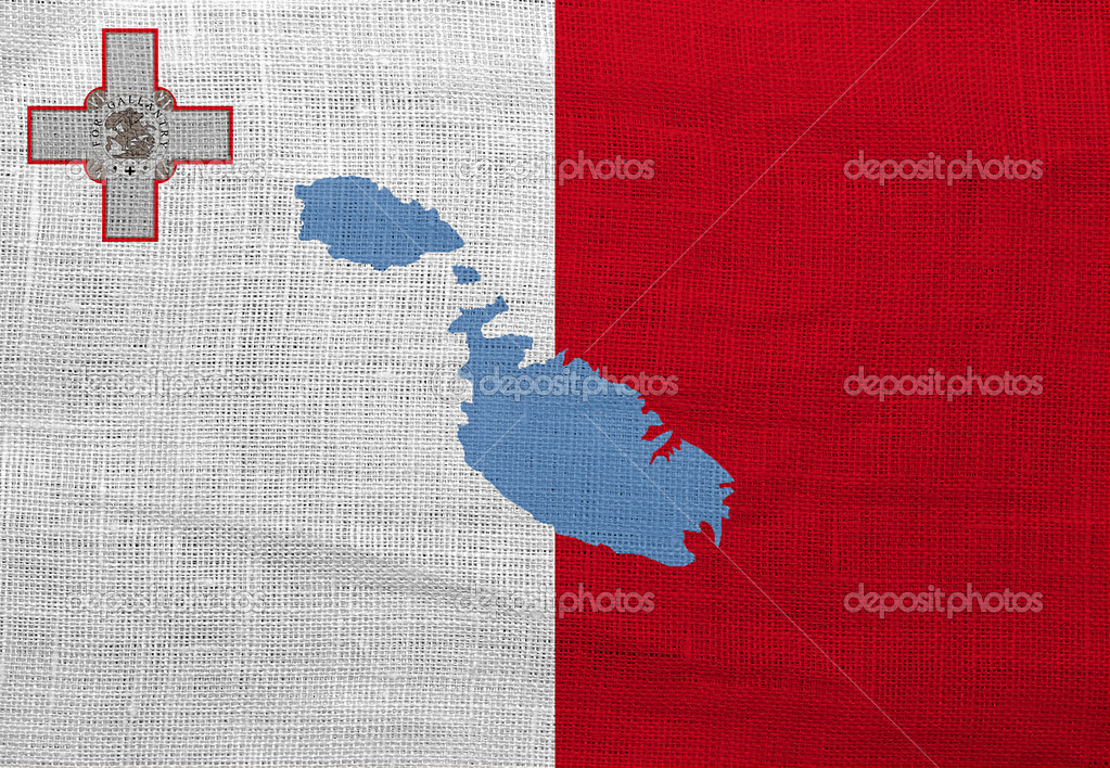 Flag and map of Malta on a sackcloth — Stock Photo #12389814