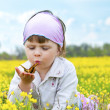 Little cute girl in a field of beautiful yellow flowers holding a butterfly on the palms and blowing on it. — Foto de Stock