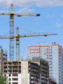 High-rise buildings under construction in progress. — Stock Photo