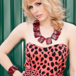 Coquettish girl blonde in leopard dress — Stock Photo