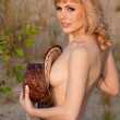 Naked beautiful blonde with a cowboy hat — Stock Photo