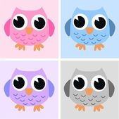 Four sweet owls — Stock Vector