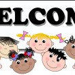 Stock Vector: Welcome mixed ethnic children