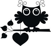 Black owl with a big heart — Stock Vector