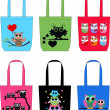 Fashion bags with sweet owls — Stock Vector