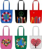 Fashion bags love peace freedom — Stock Vector