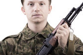 Solder with AK-47 — Stock Photo