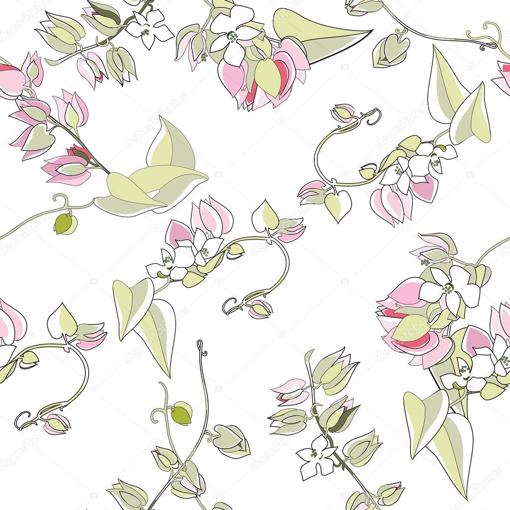 Floral seamless pattern on white — Stock Vector #11297160