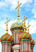 Mosaic domes on Stroganov Church Nizhny Novgorod — Stock Photo