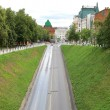 Scenic road in Sunday morning Nizhny Novgorod Russia - Stock Photo