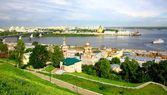 Nizhny Novgorod panoramic cityscape in the morning of july — Stock Photo