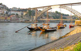 Panorama old Porto river Duoro and famous bridge Ponte dom Luis — Stock Photo