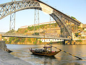 Boat near Dom Luis Bridge Porto Portugal — Stock Photo