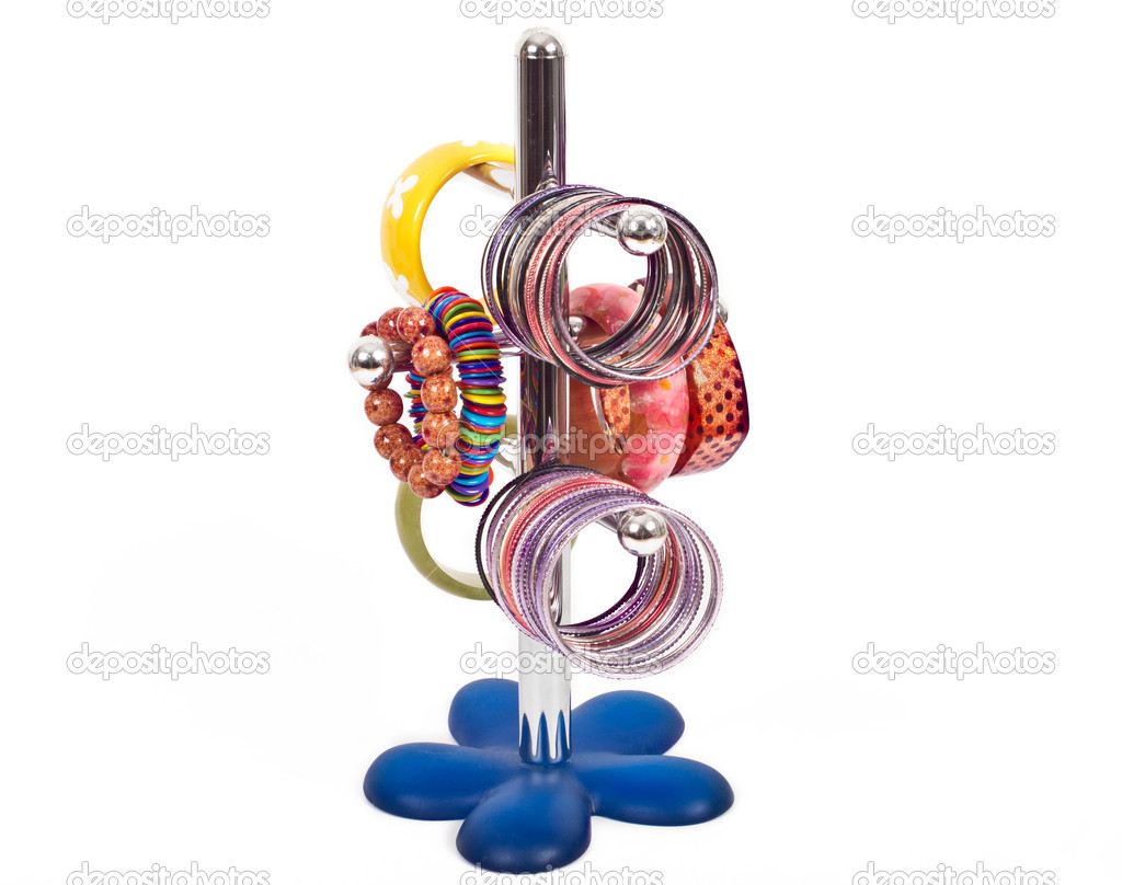 Costume jewelry on holder — Stock Photo #12128212