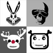 Set skulls in comic style — Stock Vector