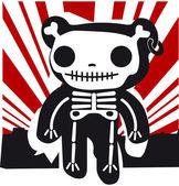 Grunge background with teddy in bones — Stock Vector