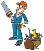 Cartoon handyman with toolbox. — Stock Vector