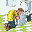 Cartoon teenager sick in toilet after drinking to much - Stock Vector