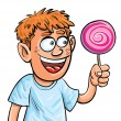 Royalty-Free Stock Vector Image: Cartoon boy eating lollypop. Isolated
