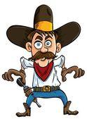 Cartoon cowboy ready to draw. — Stock Vector