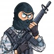 Cartoon SWAT member with a gun - Stock Vector