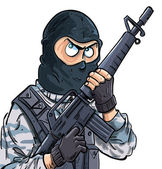 Cartoon SWAT member with a gun — Stock Vector