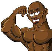 Cartoon muscle man flexing his bicep — Stock Vector