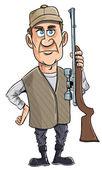 Cartoon hunter holding his gun — Stock Vector