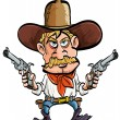 Cartoon cowboy with his guns drawn - Stock Vector
