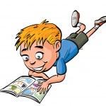 Cartoon boy reading a comic book — Stock Vector