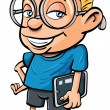 Cartoon nerd holding a tablet computer - Stock Vector