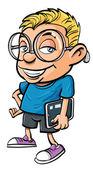 Cartoon nerd holding a tablet computer — Stock Vector
