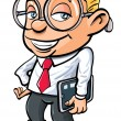 Cartoon cute nerdy office worker - Stock Vector