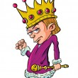 Cartoon evil looking child king holding a scepter — Stock Vector