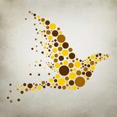 Silhouette of a bird of the circles on a gray background — Stock Photo