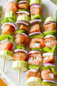 Salmon and Shrimp Skwers Prepped for BBQ — Stock Photo