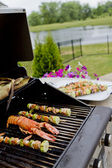 Mediterranean FishSkewers and Lobster — Stock Photo