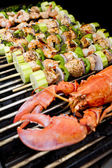 Salmon Skewers and Lobster BBQ — Stock Photo