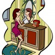 Vector cartoon girl in its room — Stock Vector #11892024