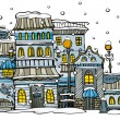 Cartoon winter city - Stock Vector
