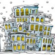 Cartoon winter city - Image vectorielle