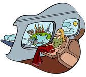 Girl in plane — Stock Vector