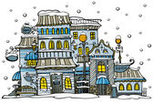 Cartoon winter city — Stock Vector