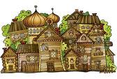 Cartoon wooden village — Stock Vector