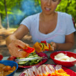 Skewers on a Camping — Stock Photo