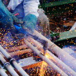 Stock Photo: Sprinkle sparks resulting from penetration works using oxygen an