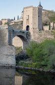 Reflection of bridge of Toledo — Stock Photo