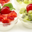 Yogurt with strawberries and kiwi — Stock Photo